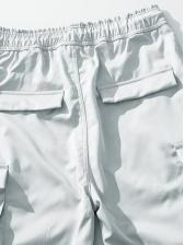 Simple Style Drawstring Pockets Men Jogger Pants
