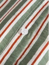 Turndown Collar Striped Short Sleeve Shirt For Men