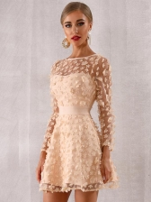 Lace Stereo Flower Party Long Sleeve Dresses