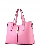 Casual Solid Color Hasp Zipper Up Women Handbags
