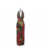 Deep V Neck Tropical Print High Split Maxi Dress