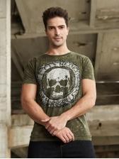 Street Style Skull Letter Short Sleeve T-Shirt For Men