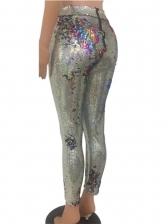 Night Club Sequined High Waist Women Ninth Pants