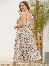 Square Neck Flower Printed Plus Size Sleeveless Dress