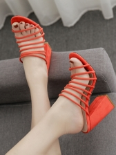 Causal Solid Color Hollow Out Slip On Heeled Sandals