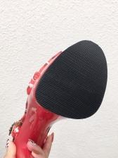 Rhinestone Patchwork T-strap Stiletto Heels