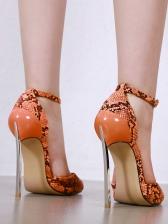 Sexy Peep Toe Snake Printed Stiletto Heels