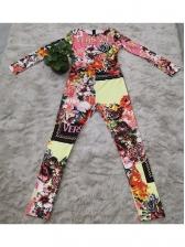 Printed Long Sleeve Skinny Jumpsuit