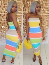 Colorful Stripe Bodycon Strapless Dress