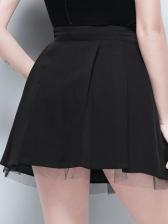 Solid Buckle Decor Gauze Patchwork a Line Skirt