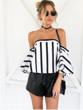 Sexy Off Shoulder Striped Flare Sleeve Women Blouses