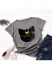 Contrast Color Cat Design Women Short Sleeve T-Shirt