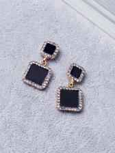 Korean Style Square Design Rhinestone Decor Earrings