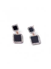 Korean Style Square Design Diamond Decor Earrings