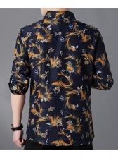 Turndown Collar Printed Long Sleeve Shirt For Men