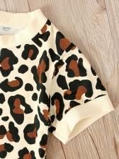 Leopard Short Sleeve Girls 2 Pieces Set