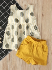 Bow Sleeveless Top With Solid Short Pants For Girls