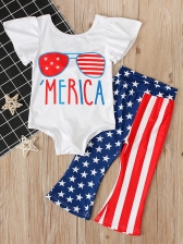 American Flag Printed 2 Pieces Sets For Girls