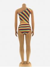 Sexy One Shoulder Rainbow Strip Women Bodysuits