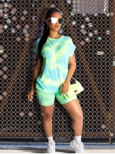 Tie Dyed Printed Short Sleeve Two Piece Short Sets