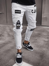 Stylish Letter Printed Hole Long Men Jeans