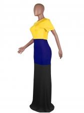 Contrast Color Short Sleeve Floor Dress