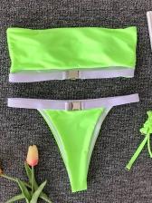 Metal Buckle Patchwork Strapless Bikini Sets