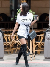 Letter Lace Up Fitted Short Sleeve T-Shirt