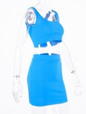 U Neck Sleeveless Crop Top And Skirt