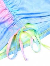 V Neck Graduated Color Drawstring Two Piece Skirt Sets