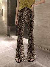 Fashionable Leopard Printed High Waist Flare Pants