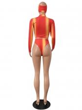 Graduated Color Long Sleeve 3 Piece Swimsuit