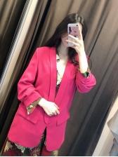 Lapel Collar Rose Red Blazer For Women