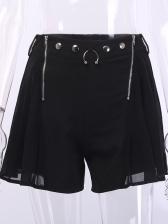 Double Zipper Metal Button Decor Black Hot Shorts