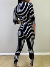 Deep V Neck Skinny Striped Jumpsuit
