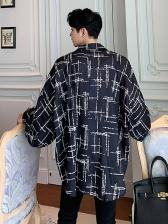 Turndown Neck Printed Bat Sleeve Men Loose Shirt