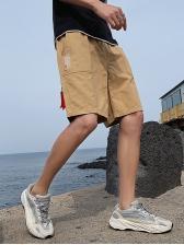 Simple Style Drawstring Men Cotton Half Pants