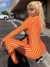 Deep V Striped Long Sleeve Female Jumpsuits