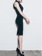 Mock Neck Tulle Patchwork Off Shoulder Dresses