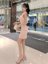 Agaric Laces Cheongsam Design Solid Color Dress