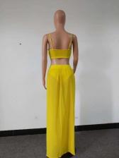 Chiffon V Neck Crop Camisole With Split Hem Maxi Skirt