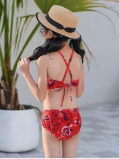 Fashion Mother And Daughter Printed Three Piece Swimsuits