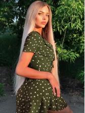 Summer Polka Dot Irregular Ruffled Short Sleeve Dress