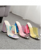 Summer Contrast Color PVC Chunky Heeled Slippers