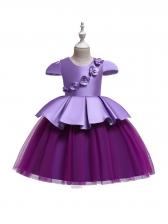 Stereo Flower Gauze Patchwork Girls Dresses