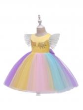 Gradient Color Gauze Printed Girls Flower Dresses