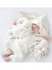 Rabbit Ears Long Sleeve Hooded Girls Sleepsuit