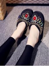 Ethnic Style Multicolor Rhinestones Decor Slide Slippers
