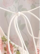 V Neck Drawstring Floral Ladies Blouse