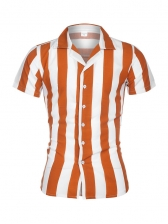 Contrast Color Short Sleeve Striped Male Shirts